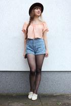 light pink JollyChic blouse - sky blue American Apparel shorts