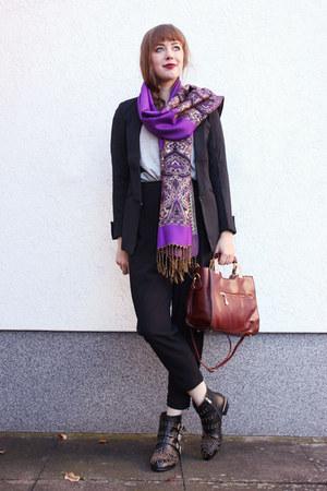 purple OASAP scarf - black OASAP blazer - crimson milanoo bag
