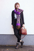 purple OASAP scarf - black OASAP blazer - crimson milanoo bag