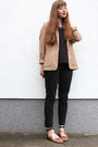 Camel-warehouse-blazer-bronze-zign-sandals