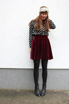 black AHAISHOPPING blouse - black OASAP coat - crimson Primark skirt