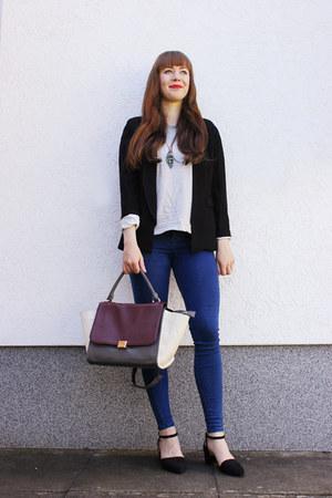 magenta OASAP bag - navy Topshop jeans - black Lovelyshoes blazer