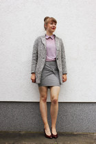 heather gray Sheinside coat - light purple OASAP blouse