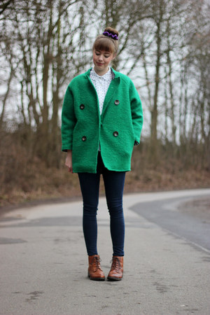 green OASAP coat - tawny Street Shoes boots - navy Topshop jeans