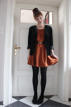 black thrifted vintage blazer - burnt orange H&M dress - bronze Primark belt