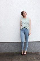 lime green H&M blouse - sky blue Topshop jeans