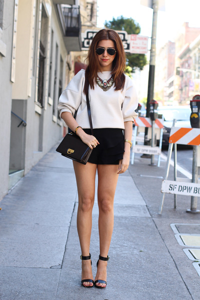 Zara shorts - Salvatore Ferragamo bag - Zara necklace - Zara blouse