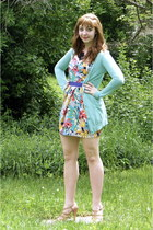 yellow chic reward threadsence dress - light purple modcloth belt - aquamarine U