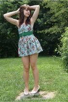 blue Ebay dress - green modcloth belt - white vintage from etsy shoes