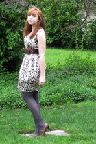 cream Cactus Flower dress - heather gray Macys tights - dark brown modcloth belt