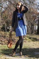 heather gray Urban Outfitters blazer - nude Payless shoes - sky blue H&M dress