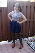 heather gray argyle Target tights - navy Urban Outfitters skirt - heather gray E