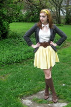 gray Urban Outfitters blazer - dark brown knee high sockdreamscom socks - dark b