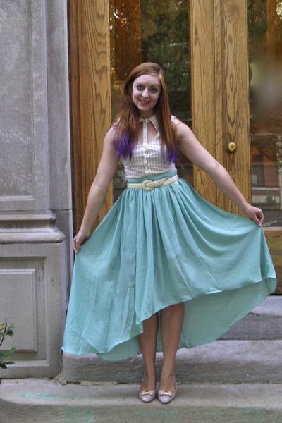 aquamarine modcloth skirt - eggshell modcloth blouse - light pink modcloth flats
