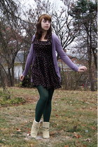 light purple Urban Outfitters cardigan - dark brown Urban Outfitters dress - for