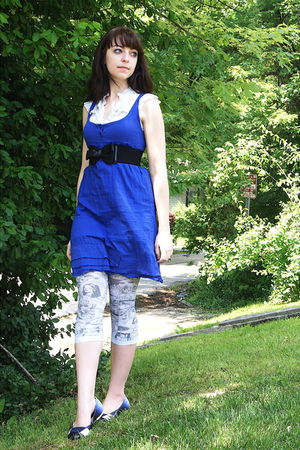 blue Urban Outfitters dress - white TJ Maxx blouse - black Urban Outfitters belt