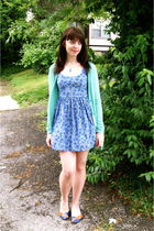 green Urban Outfitters cardigan - blue Charlotte Russe dress - blue gift from fr