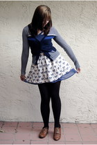 navy American Eagle cardigan - blue Urban Outfitters dress - off white Urban Out