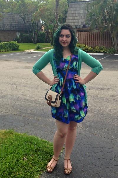 aquamarine Urban Outfitters cardigan - deep purple modcloth dress