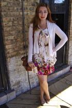 hot pink modcloth dress - brown modcloth bag - brown Forever 21 belt