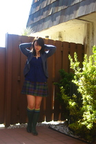 blue delias sweater - purple Victorias Secret blouse - green KILT FROM SCOTLAND