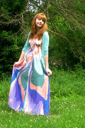 light purple watercolor modcloth dress - camel Chic Reward sandals - aquamarine