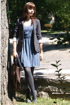gray Urban Outfitters blazer - blue Urban Outfitters dress - brown modcloth purs