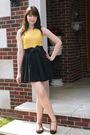 Gold-sears-dress-black-urban-outfitters-belt-black-forever-21-skirt-black-