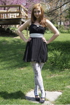 black Urban Outfitters dress - white London street vendor tights - silver Americ