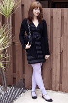 black Urban Outfitters cardigan - dark gray H&M dress - black Urban Outfitters b
