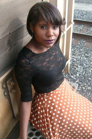 lace top - polka dot Forever 21 skirt