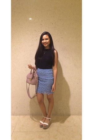light blue lace Forever 21 skirt - light pink Topshop bag - white Zara sandals