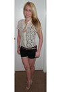 Tan-lace-floral-the-limited-shirt-black-aeropostale-shorts