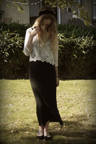 ivory lace crop top Monki top - black Topshop dress
