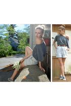 gray Bensimon shoes - gray calvin klein t-shirt - beige handmade shorts
