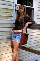 black vintage top - red vintage belt - blue American Eagle shorts - brown vintag
