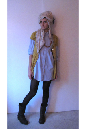 brown Frye boots - beige H&M scarf - gold Urban Outfitters cardigan - blue H&M b