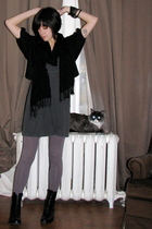 gray H&M dress - black Silence & Noise sweater - black thrifted scarf - black th
