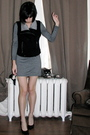 Gray-acne-dress-black-forever-21-vest-black-vintage-shoes
