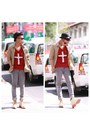Cream-dr-ecko-shoes-heather-gray-london-jeans-camel-dkny-shirt-crimson-top