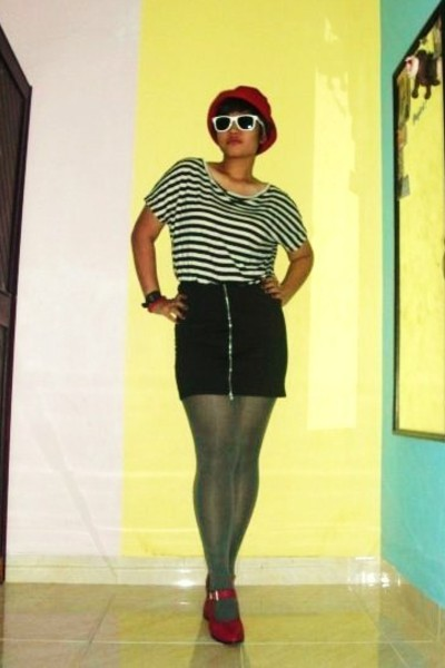 black RY blouse - black RY skirt - gray unbranded stockings - red custom made sh