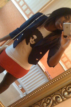 H&M blazer - new look t-shirt -  skirt - GINA TRICOT purse