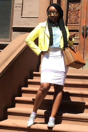 light yellow motorcycle neon Macys jacket - beau & ashe shoes