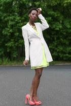 lime green dress - off white blazer - salmon wild diva pumps