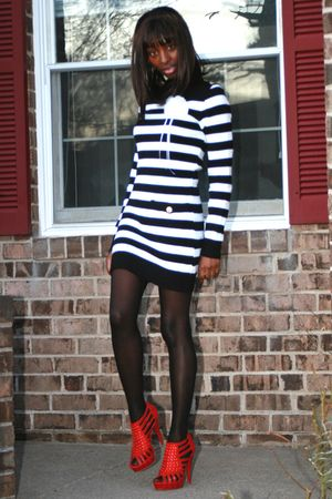 red GoJane shoes - black Kmart tights - Miss Selfridges dress