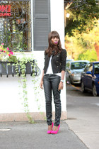 faux leather Topshop pants - Cupid pumps - JCrew t-shirt