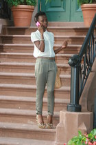 olive green Motivi pants - ivory H&M top - spiked posh pumps