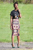 graphic skirt - rottweiler t-shirt