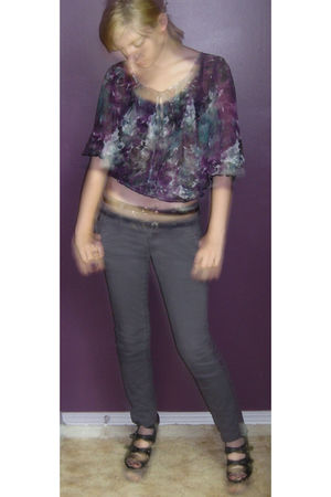 purple H&M blouse - gray kohls pants - black Forever 21 shoes