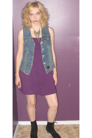 purple Thrift Store dress - black vintage boots - blue second hand vest - Claire